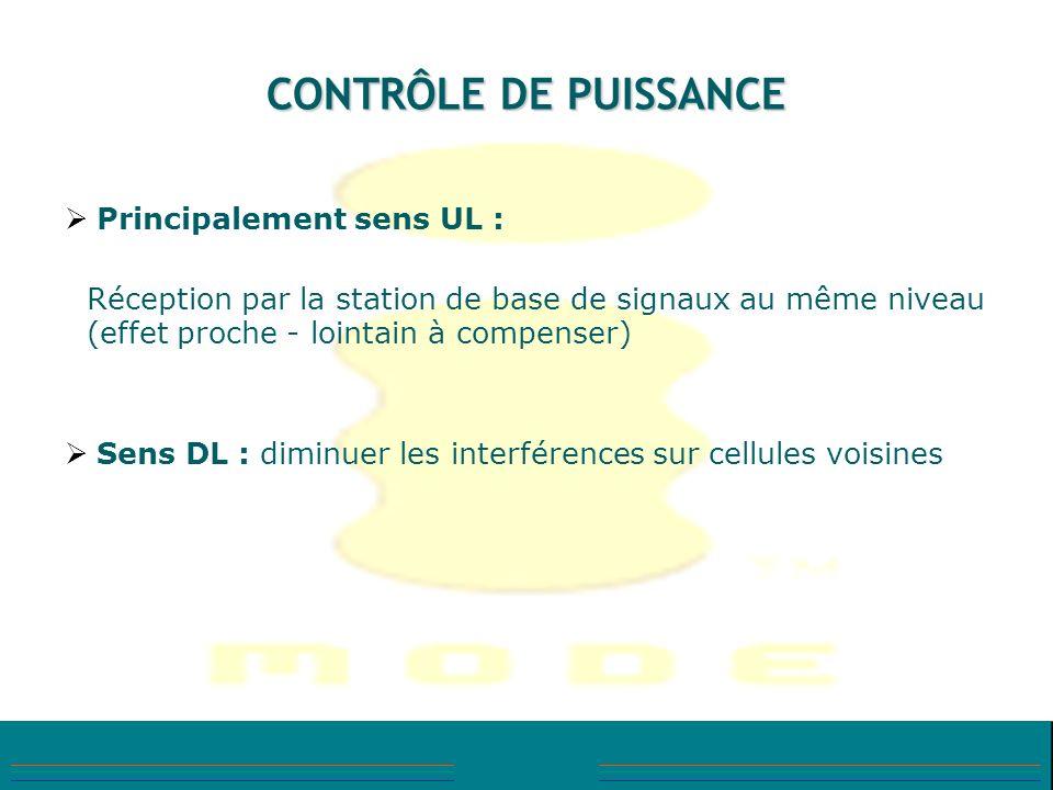CONTRÔLE DE PUISSANCE Principalement sens UL : Réception par la station de base de signaux au même niveau (effet proche - lointain à compenser) Sens D