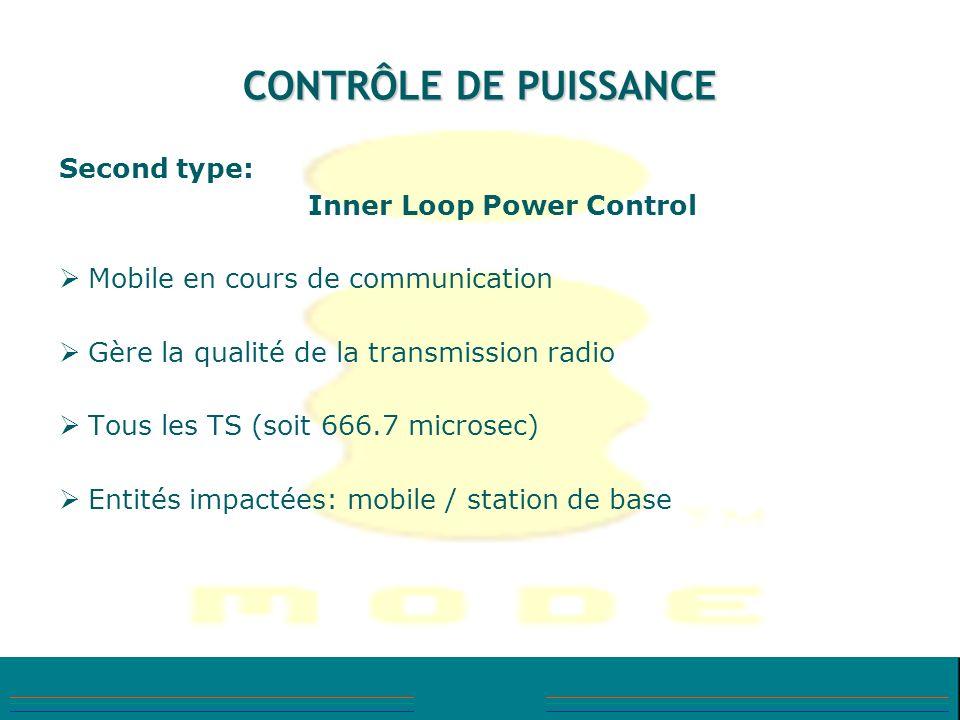 CONTRÔLE DE PUISSANCE Second type: Inner Loop Power Control Mobile en cours de communication Gère la qualité de la transmission radio Tous les TS (soi