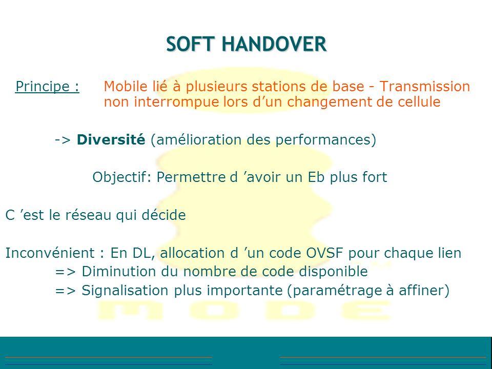 SOFT HANDOVER Principe : Mobile lié à plusieurs stations de base - Transmission non interrompue lors dun changement de cellule -> Diversité (améliorat