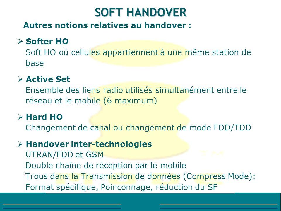 SOFT HANDOVER Autres notions relatives au handover : Softer HO Soft HO où cellules appartiennent à une même station de base Active Set Ensemble des li