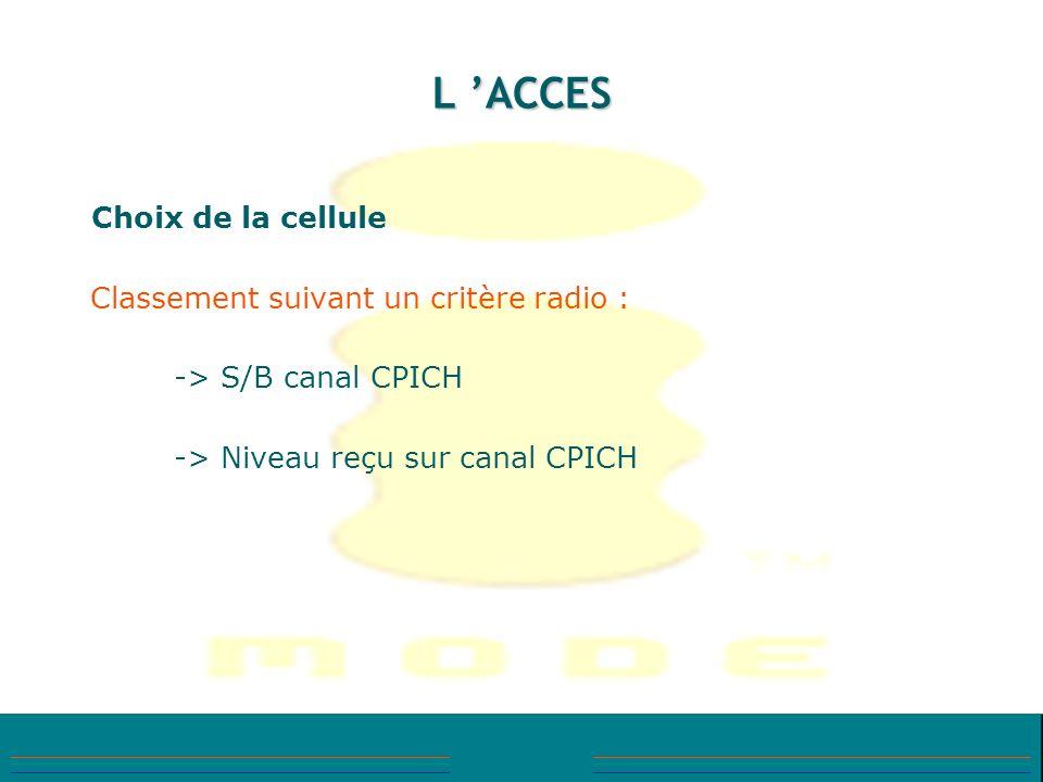 L ACCES Choix de la cellule Classement suivant un critère radio : -> S/B canal CPICH -> Niveau reçu sur canal CPICH