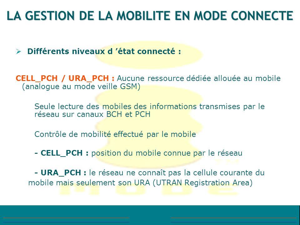 LA GESTION DE LA MOBILITE EN MODE CONNECTE Différents niveaux d état connecté : CELL_PCH / URA_PCH : Aucune ressource dédiée allouée au mobile (analog