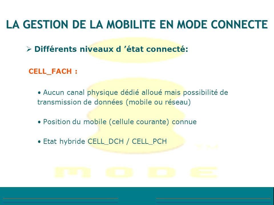 LA GESTION DE LA MOBILITE EN MODE CONNECTE Différents niveaux d état connecté: CELL_FACH : Aucun canal physique dédié alloué mais possibilité de trans