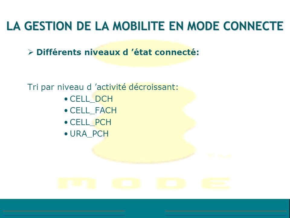 LA GESTION DE LA MOBILITE EN MODE CONNECTE Différents niveaux d état connecté: Tri par niveau d activité décroissant: CELL_DCH CELL_FACH CELL_PCH URA_