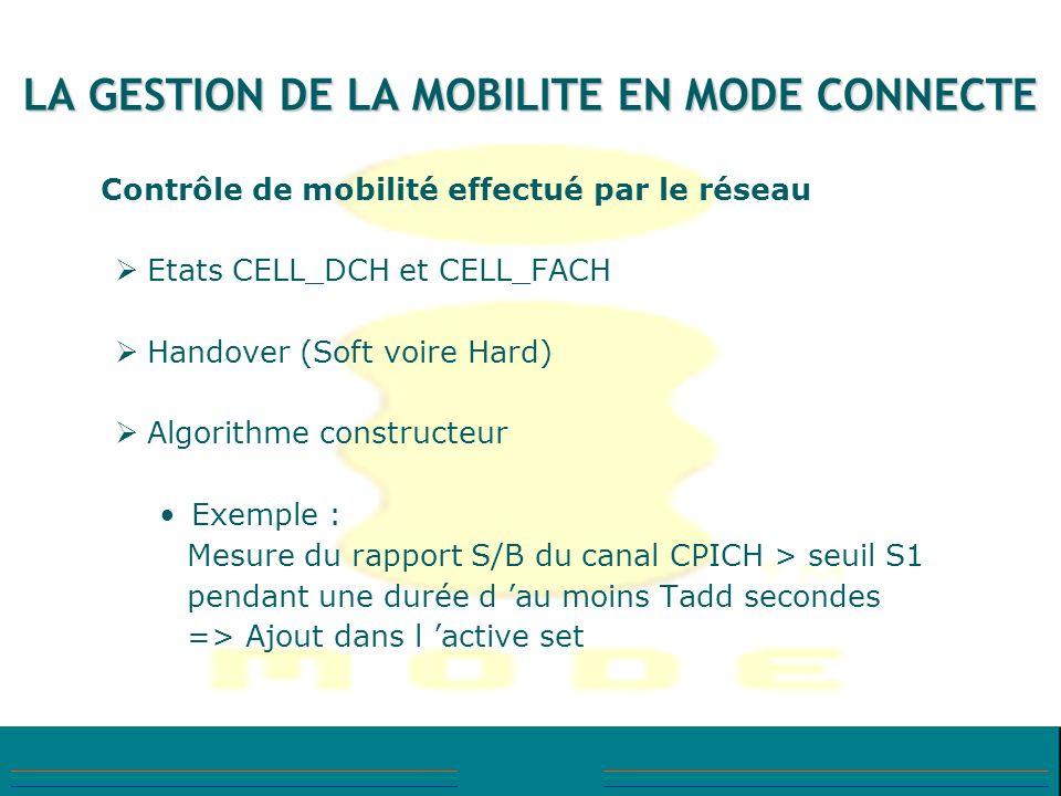 LA GESTION DE LA MOBILITE EN MODE CONNECTE Contrôle de mobilité effectué par le réseau Etats CELL_DCH et CELL_FACH Handover (Soft voire Hard) Algorith
