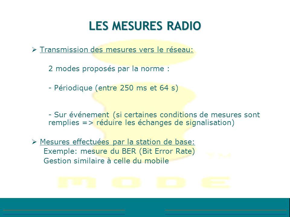 LES MESURES RADIO Transmission des mesures vers le réseau: 2 modes proposés par la norme : - Périodique (entre 250 ms et 64 s) - Sur événement (si cer