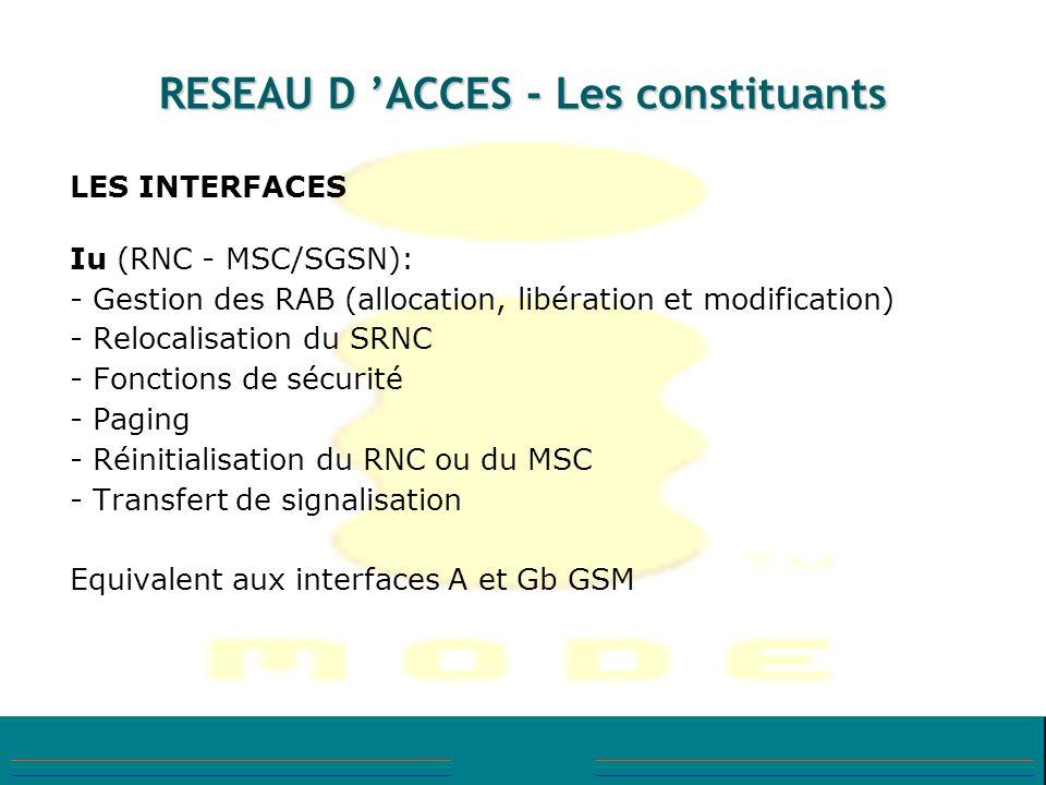 RESEAU D ACCES - Les constituants LES INTERFACES Iu (RNC - MSC/SGSN): - Gestion des RAB (allocation, libération et modification) - Relocalisation du S