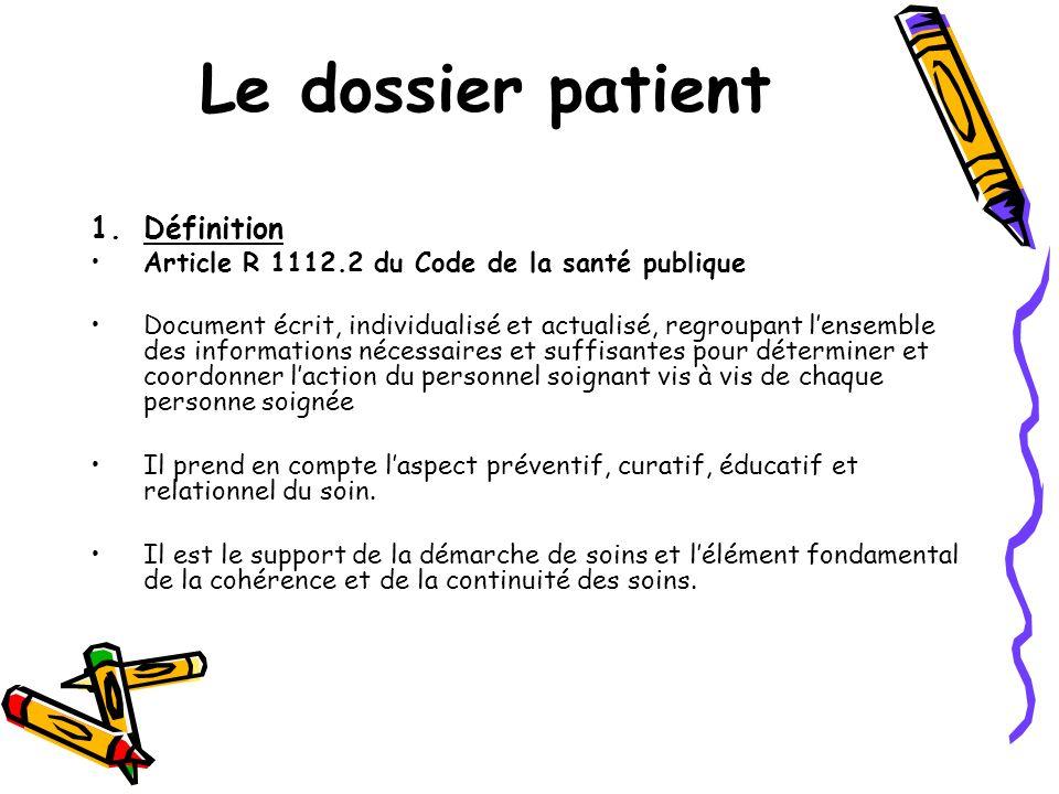 Le dossier patient 1.Définition Article R 1112.2 du Code de la santé publique Document écrit, individualisé et actualisé, regroupant lensemble des inf