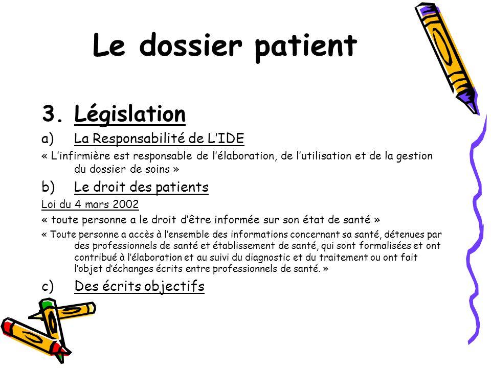 Le dossier patient 3.Législation a)La Responsabilité de LIDE « Linfirmière est responsable de lélaboration, de lutilisation et de la gestion du dossie
