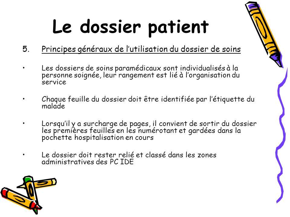 Le dossier patient 5.Principes généraux de lutilisation du dossier de soins Les dossiers de soins paramédicaux sont individualisés à la personne soign