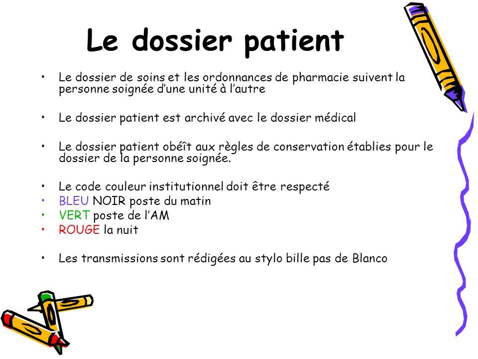 Le dossier patient Le dossier de soins et les ordonnances de pharmacie suivent la personne soignée dune unité à lautre Le dossier patient est archivé