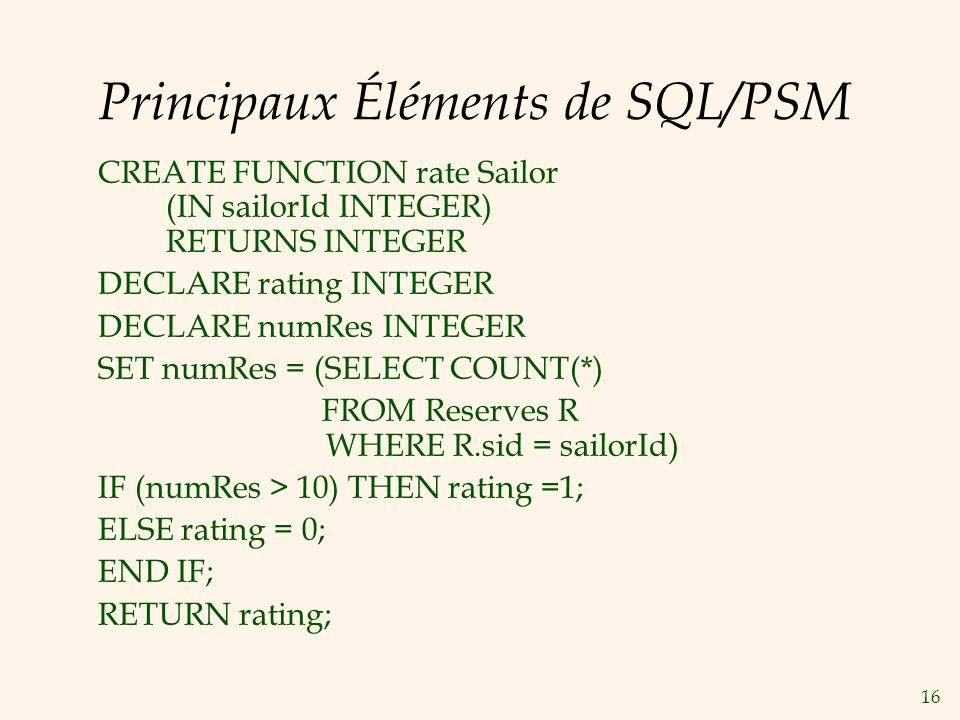 16 Principaux Éléments de SQL/PSM CREATE FUNCTION rate Sailor (IN sailorId INTEGER) RETURNS INTEGER DECLARE rating INTEGER DECLARE numRes INTEGER SET numRes = (SELECT COUNT(*) FROM Reserves R WHERE R.sid = sailorId) IF (numRes > 10) THEN rating =1; ELSE rating = 0; END IF; RETURN rating;