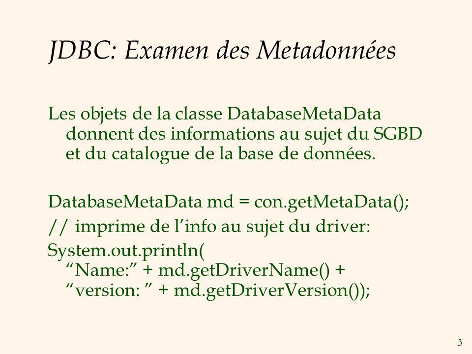 14 Exécution des Procédures Stockées (Suite) JDBC: CallableStatement cstmt= con.prepareCall({call ShowSailors}); ResultSet rs = cstmt.executeQuery(); while (rs.next()) { … } SQLJ: #sql iterator ShowSailors(…); ShowSailors showsailors; #sql showsailors={CALL ShowSailors}; while (showsailors.next()) { … }