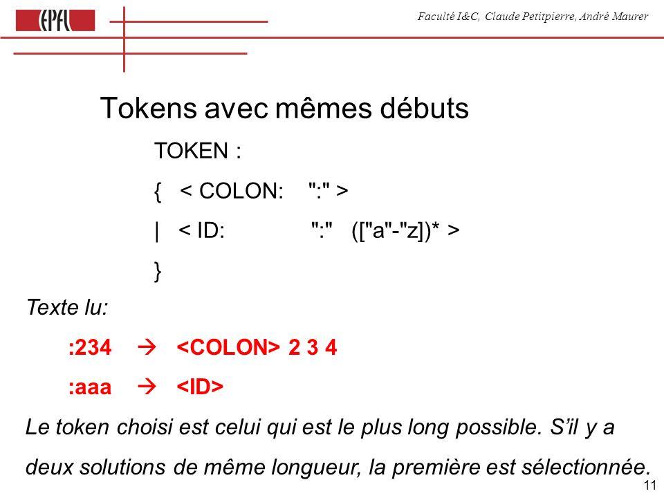 Faculté I&C, Claude Petitpierre, André Maurer 11 Tokens avec mêmes débuts TOKEN : { | } Texte lu: :234 2 3 4 :aaa Le token choisi est celui qui est le plus long possible.