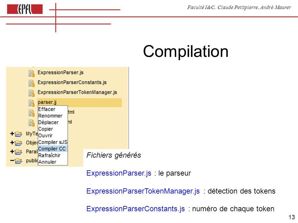 Faculté I&C, Claude Petitpierre, André Maurer 13 Compilation Fichiers générés ExpressionParser.js : le parseur ExpressionParserTokenManager.js : détection des tokens ExpressionParserConstants.js : numéro de chaque token