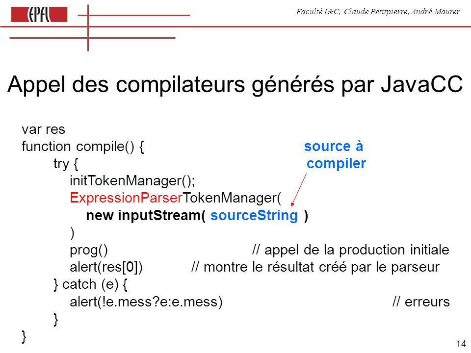 Faculté I&C, Claude Petitpierre, André Maurer 14 Appel des compilateurs générés par JavaCC var res function compile() { source à try { compiler initTokenManager(); ExpressionParserTokenManager( new inputStream( sourceString ) ) prog() // appel de la production initiale alert(res[0]) // montre le résultat créé par le parseur } catch (e) { alert(!e.mess e:e.mess) // erreurs } }