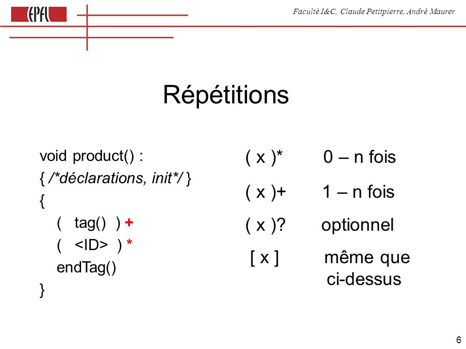 Faculté I&C, Claude Petitpierre, André Maurer 7 LOOKAHEAD void statement() : { var nb = 0; } { add ( LOOKAHEAD (3) A , nb=number() | A , B | LOOKAHEAD ( B , number() ) B , nb=number() | B , B ) }