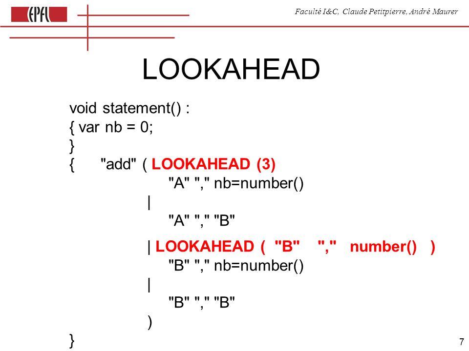 Faculté I&C, Claude Petitpierre, André Maurer 8 Génération de code void factor() : { var t; } { ( t= {res.push(parseInt(t.image));} | {res.push(token.image);} | ( expr() ) ) } // note: token est défini par défaut, il correspond au // dernier token rencontré