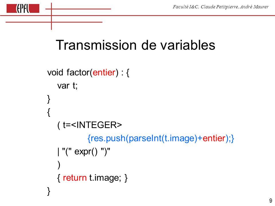 Faculté I&C, Claude Petitpierre, André Maurer 9 Transmission de variables void factor(entier) : { var t; } { ( t= {res.push(parseInt(t.image)+entier);} | ( expr() ) ) { return t.image; } }