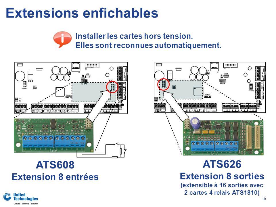 10 Extensions enfichables ATS626 Extension 8 sorties (extensible à 16 sorties avec 2 cartes 4 relais ATS1810) ATS608 Extension 8 entrées Installer les cartes hors tension.