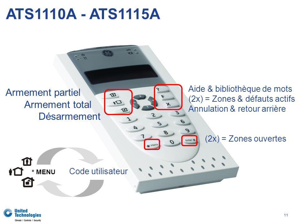 11 ATS1110A - ATS1115A Armement partiel Armement total Désarmement Code utilisateur * MENU Aide & bibliothèque de mots (2x) = Zones & défauts actifs Annulation & retour arrière (2x) = Zones ouvertes
