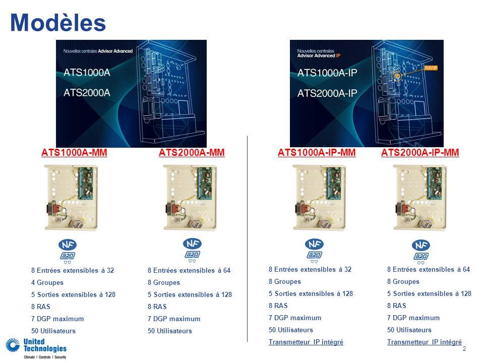 2 Modèles ATS2000A-MM 8 Entrées extensibles à 32 4 Groupes 5 Sorties extensibles à 128 8 RAS 7 DGP maximum 50 Utilisateurs ATS1000A-MM 8 Entrées extensibles à 64 8 Groupes 5 Sorties extensibles à 128 8 RAS 7 DGP maximum 50 Utilisateurs ATS2000A-IP-MMATS1000A-IP-MM 8 Entrées extensibles à 64 8 Groupes 5 Sorties extensibles à 128 8 RAS 7 DGP maximum 50 Utilisateurs Transmetteur IP intégré 8 Entrées extensibles à 32 8 Groupes 5 Sorties extensibles à 128 8 RAS 7 DGP maximum 50 Utilisateurs Transmetteur IP intégré