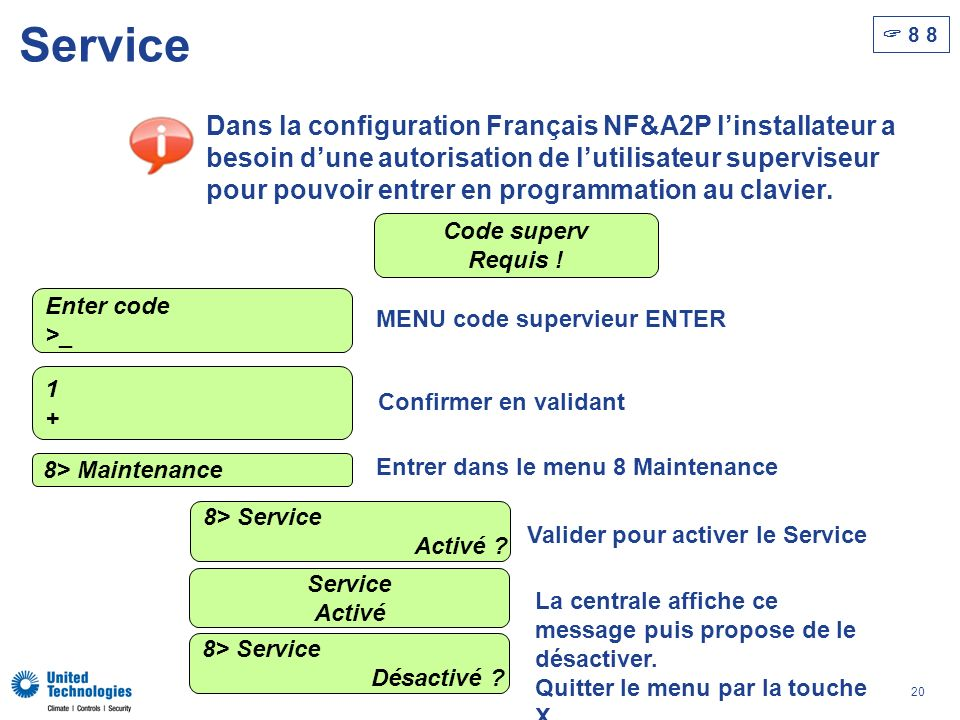 20 Service 8 8 Dans la configuration Français NF&A2P linstallateur a besoin dune autorisation de lutilisateur superviseur pour pouvoir entrer en programmation au clavier.