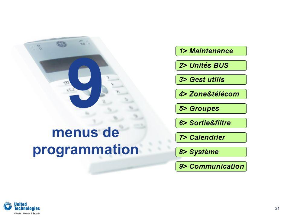21 1> Maintenance 2> Unités BUS 3> Gest utilis 4> Zone&télécom 5> Groupes 6> Sortie&filtre 7> Calendrier 9> Communication 8> Système 9 menus de programmation