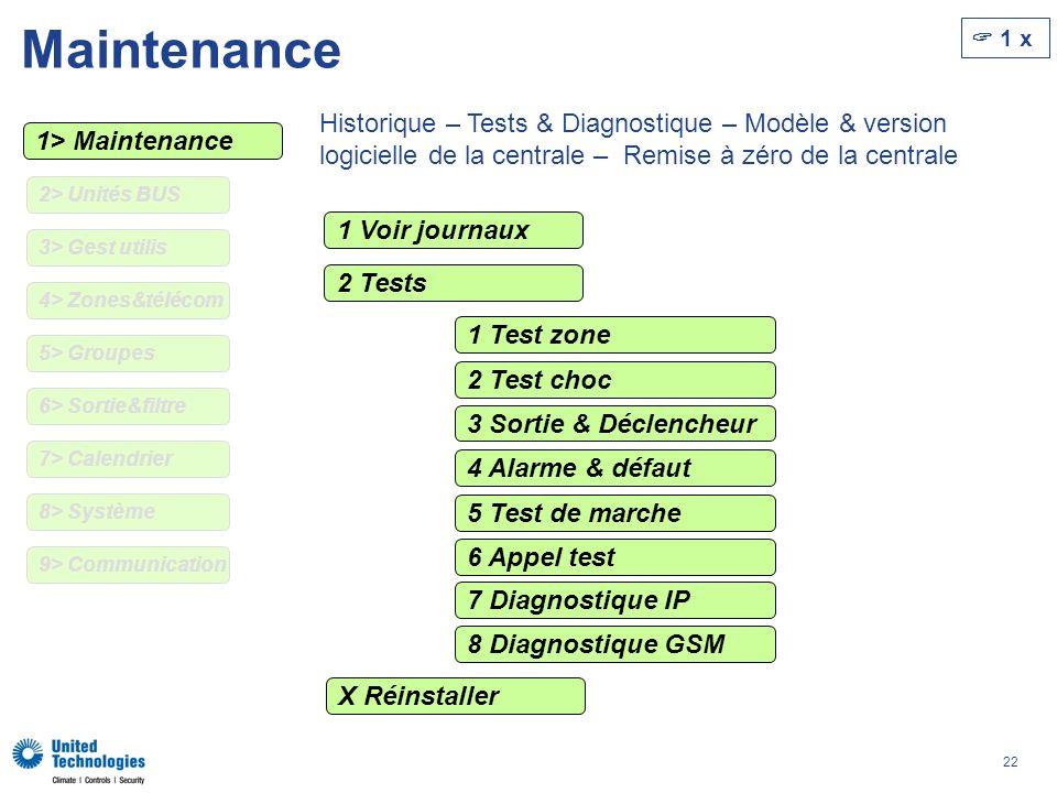 22 Maintenance 1> Maintenance Historique – Tests & Diagnostique – Modèle & version logicielle de la centrale – Remise à zéro de la centrale 1 Voir journaux 2 Tests X Réinstaller 1 Test zone 2 Test choc 3 Sortie & Déclencheur 4 Alarme & défaut 5 Test de marche 6 Appel test 7 Diagnostique IP 8 Diagnostique GSM 1 x 2> Unités BUS 4> Zones&télécom 5> Groupes 6> Sortie&filtre 7> Calendrier 9> Communication 8> Système 3> Gest utilis