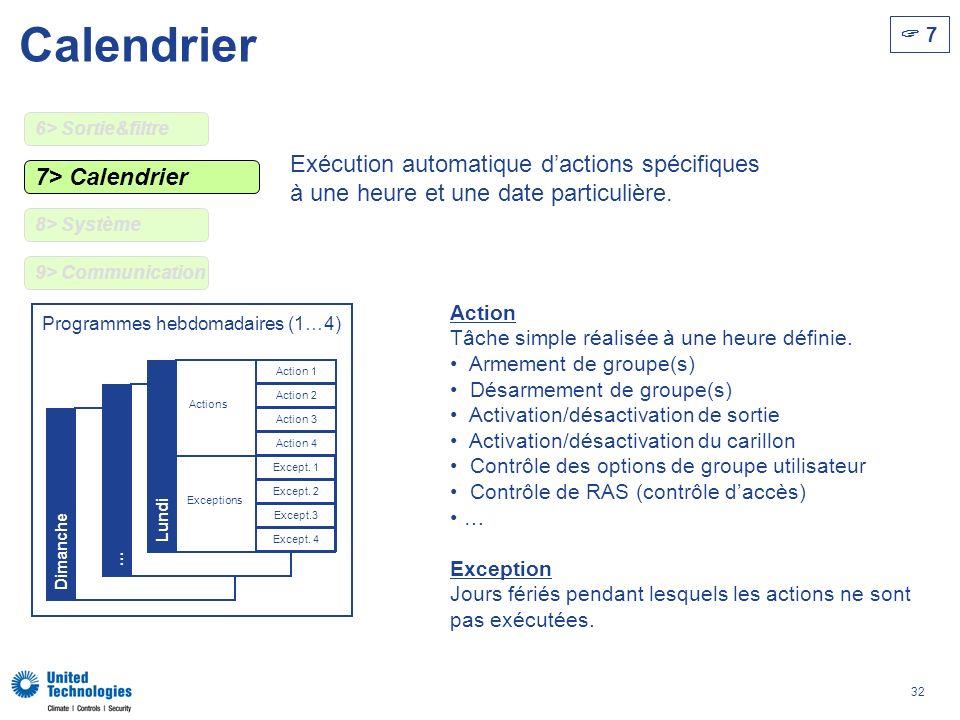 32 Dimanche … 7> Calendrier Calendrier 7 Programmes hebdomadaires (1…4) Action Tâche simple réalisée à une heure définie. Armement de groupe(s) Désarm