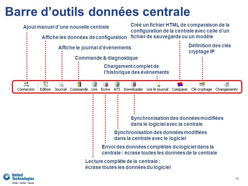 45 Barre doutils données centrale Ajout manuel dune nouvelle centrale Affiche les données de configuration Affiche le journal dévènements Commande & d