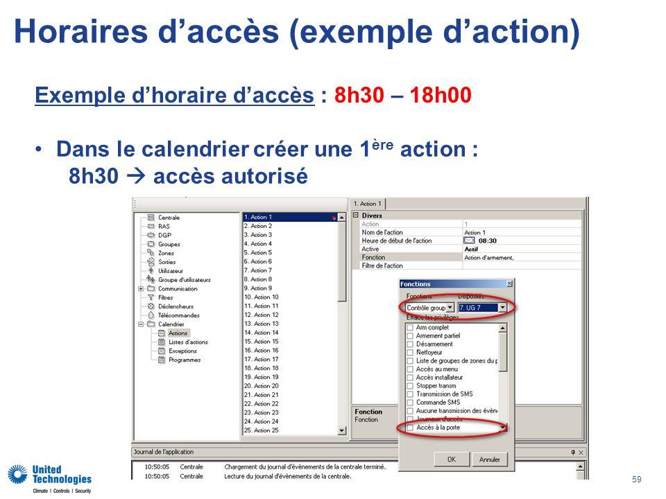 59 Horaires daccès (exemple daction) Exemple dhoraire daccès : 8h30 – 18h00 Dans le calendrier créer une 1 ère action : 8h30 accès autorisé