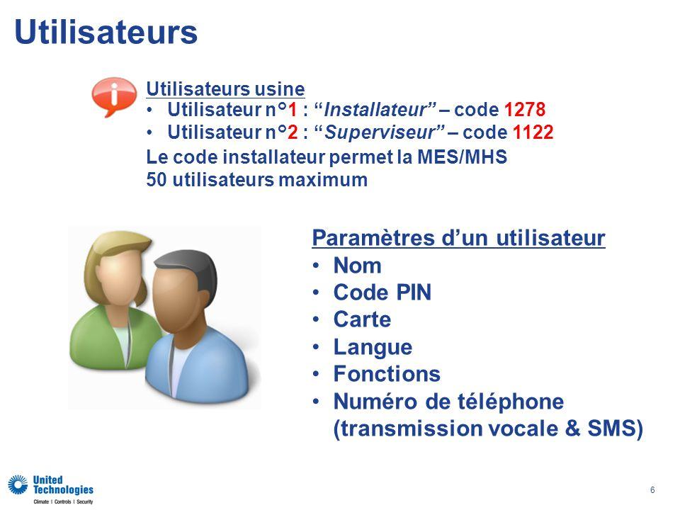 6 Utilisateurs Paramètres dun utilisateur Nom Code PIN Carte Langue Fonctions Numéro de téléphone (transmission vocale & SMS) Utilisateurs usine Utilisateur n°1 : Installateur – code 1278 Utilisateur n°2 : Superviseur – code 1122 Le code installateur permet la MES/MHS 50 utilisateurs maximum