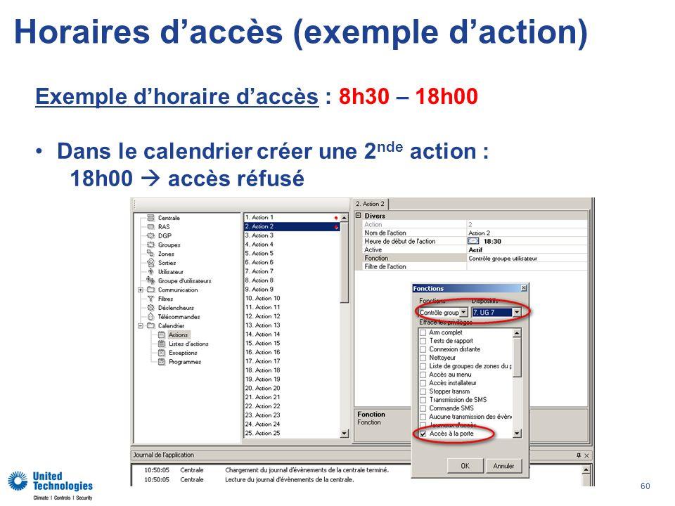 60 Horaires daccès (exemple daction) Exemple dhoraire daccès : 8h30 – 18h00 Dans le calendrier créer une 2 nde action : 18h00 accès réfusé