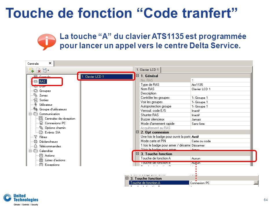 64 Touche de fonction Code tranfert La touche A du clavier ATS1135 est programmée pour lancer un appel vers le centre Delta Service.