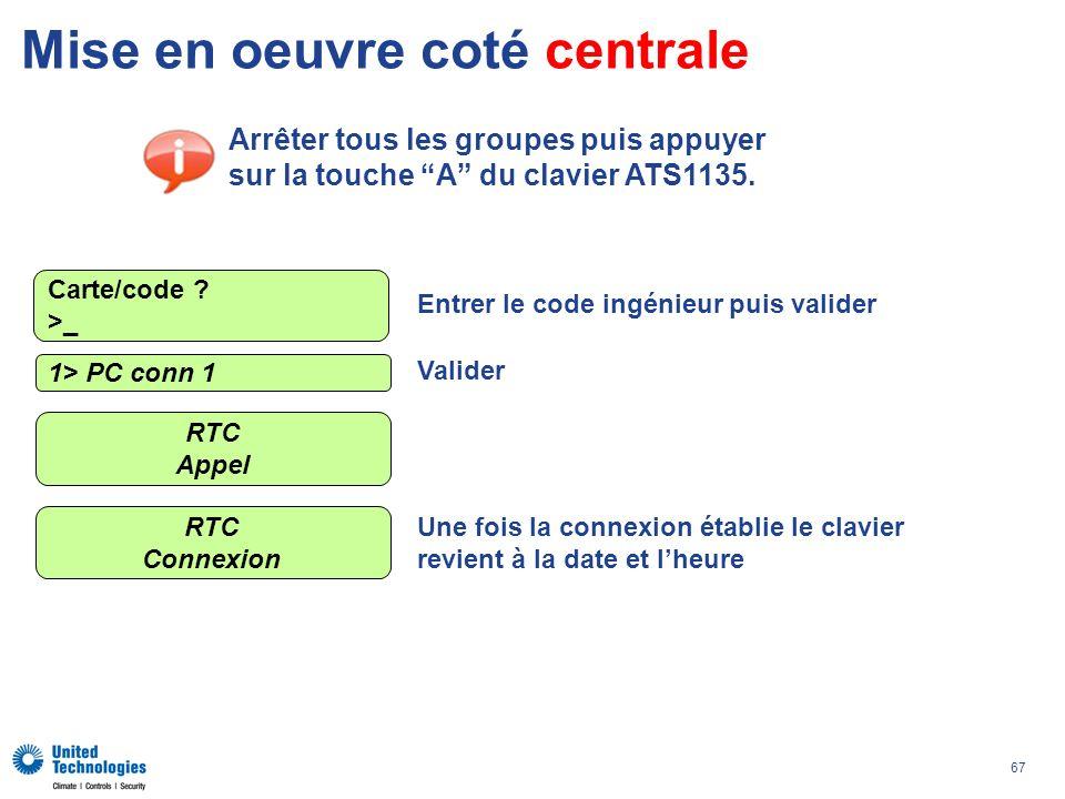 67 Mise en oeuvre coté centrale Arrêter tous les groupes puis appuyer sur la touche A du clavier ATS1135. 1> PC conn 1 RTC Appel Carte/code ? >_ Entre