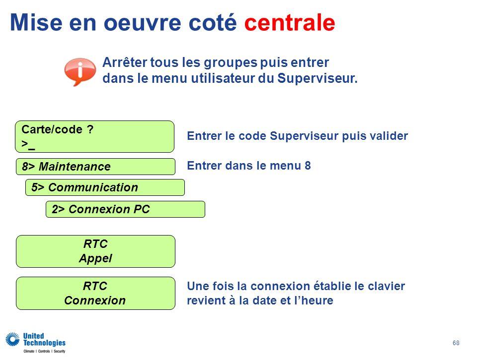 68 Mise en oeuvre coté centrale Arrêter tous les groupes puis entrer dans le menu utilisateur du Superviseur. 8> Maintenance RTC Appel Carte/code ? >_