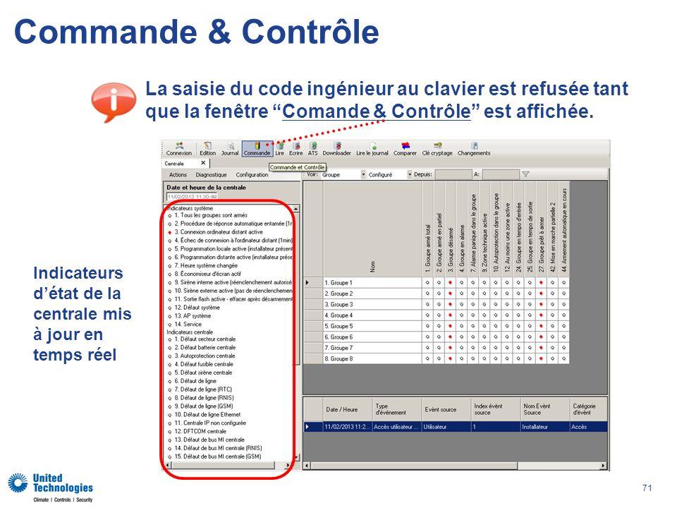 71 Commande & Contrôle La saisie du code ingénieur au clavier est refusée tant que la fenêtre Comande & Contrôle est affichée. Indicateurs détat de la