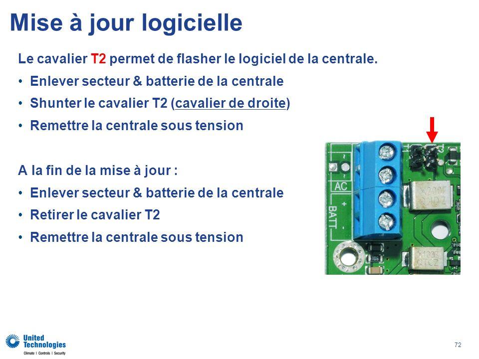 72 Le cavalier T2 permet de flasher le logiciel de la centrale. Enlever secteur & batterie de la centrale Shunter le cavalier T2 (cavalier de droite)