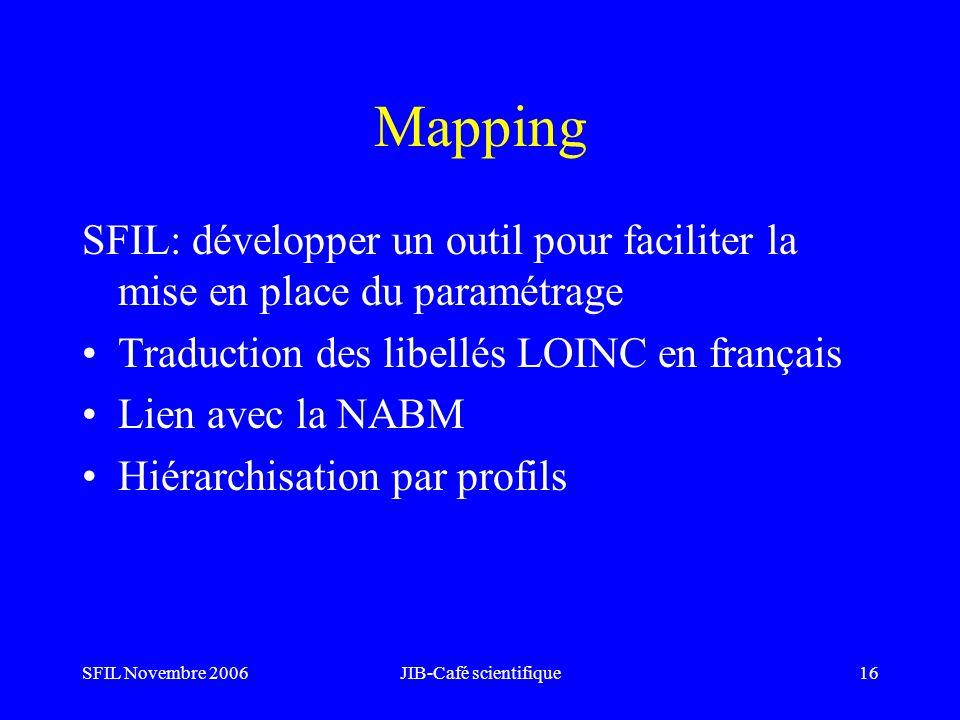 SFIL Novembre 2006JIB-Café scientifique16 Mapping SFIL: développer un outil pour faciliter la mise en place du paramétrage Traduction des libellés LOI