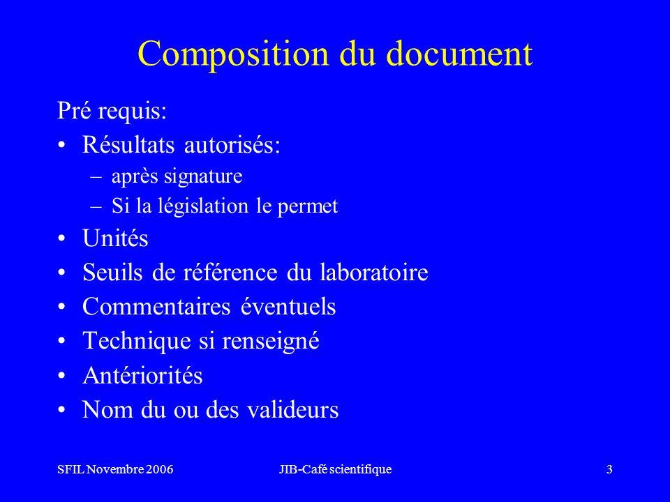 SFIL Novembre 2006JIB-Café scientifique3 Composition du document Pré requis: Résultats autorisés: –après signature –Si la législation le permet Unités