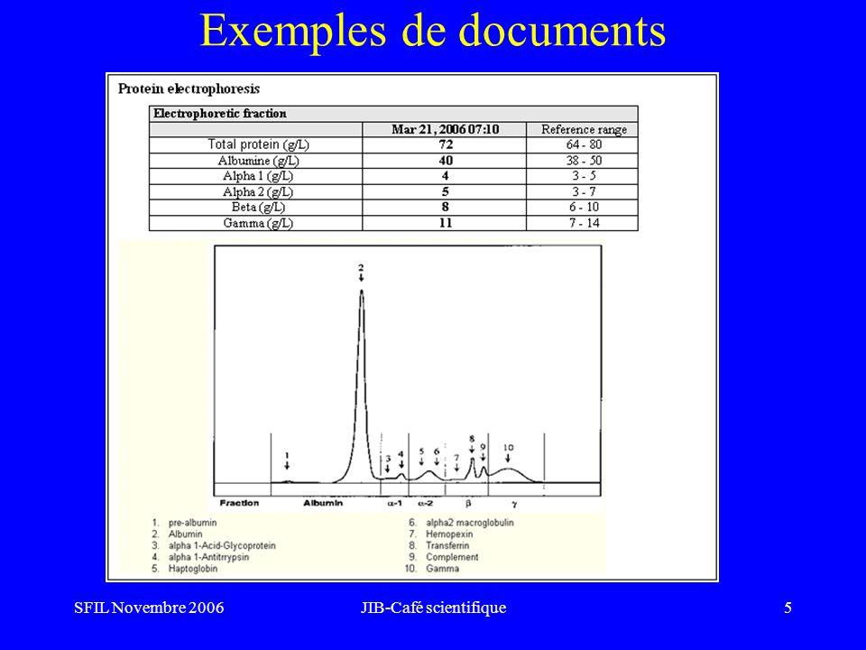 SFIL Novembre 2006JIB-Café scientifique16 Mapping SFIL: développer un outil pour faciliter la mise en place du paramétrage Traduction des libellés LOINC en français Lien avec la NABM Hiérarchisation par profils