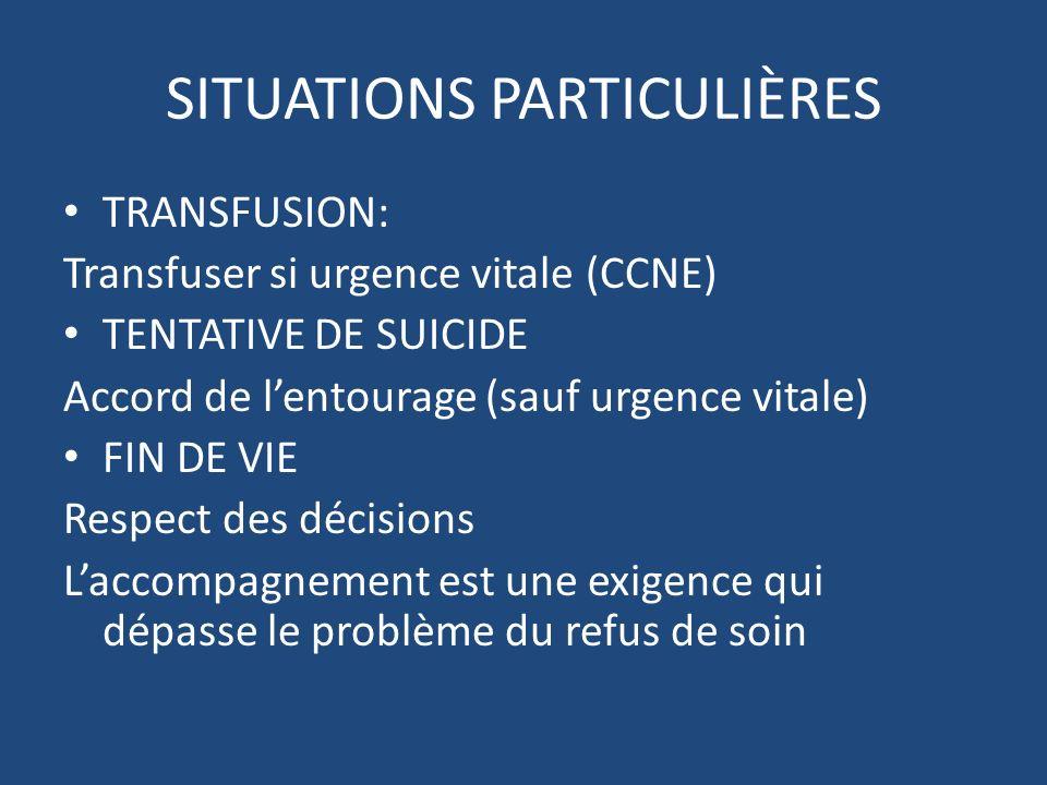 SITUATIONS PARTICULIÈRES TRANSFUSION: Transfuser si urgence vitale (CCNE) TENTATIVE DE SUICIDE Accord de lentourage (sauf urgence vitale) FIN DE VIE R