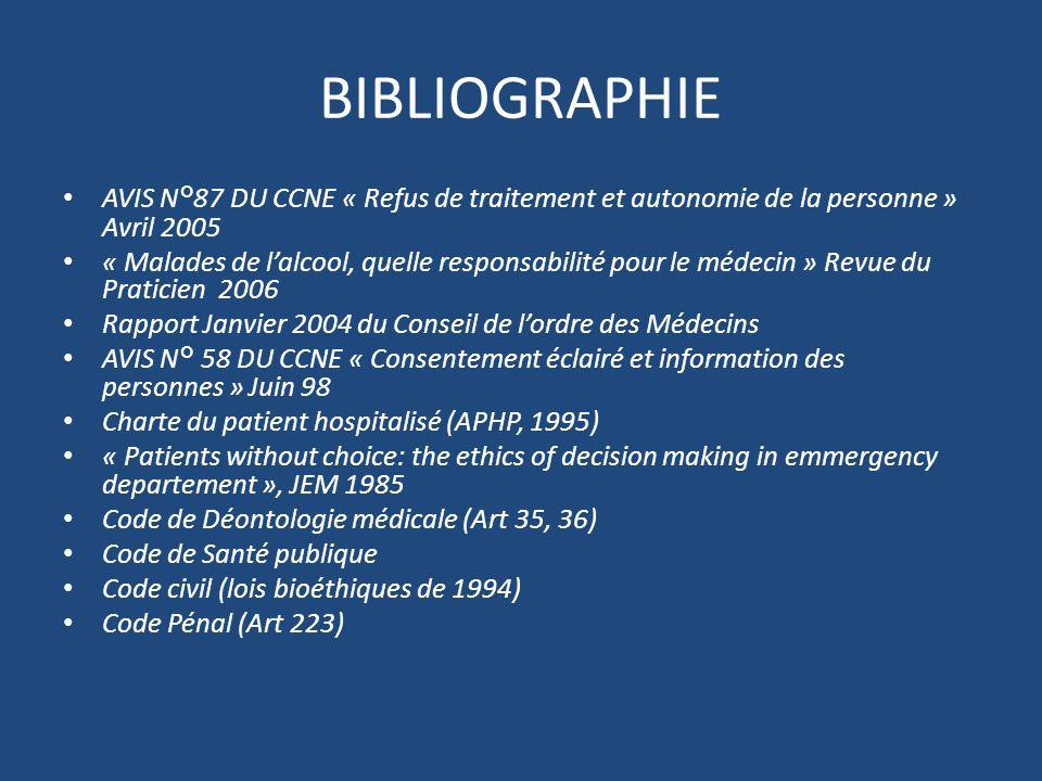 BIBLIOGRAPHIE AVIS N°87 DU CCNE « Refus de traitement et autonomie de la personne » Avril 2005 « Malades de lalcool, quelle responsabilité pour le méd
