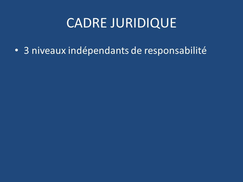CADRE JURIDIQUE 3 niveaux indépendants de responsabilité