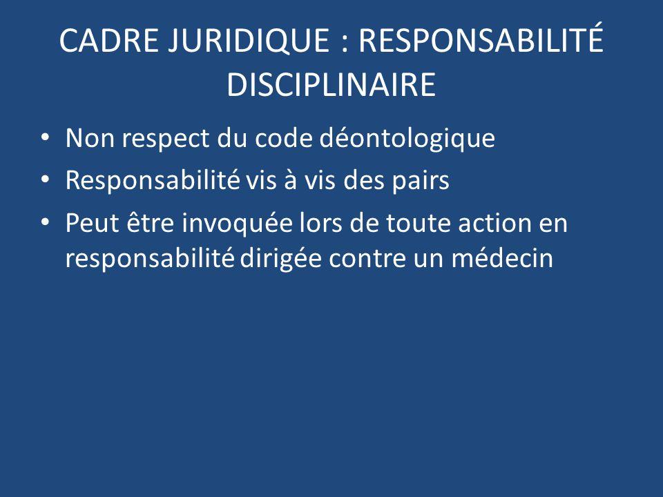 CADRE JURIDIQUE : RESPONSABILITÉ PÉNALE INFRACTIONS définies par le code pénal SANCTIONS (amendes, prison) VIOLATION DU SECRET MÉDICAL MANQUEMENT À LOBLIGATION DE QUALITÉ DE SOINS NON ASSISTANCE À PERSONNE EN DANGER