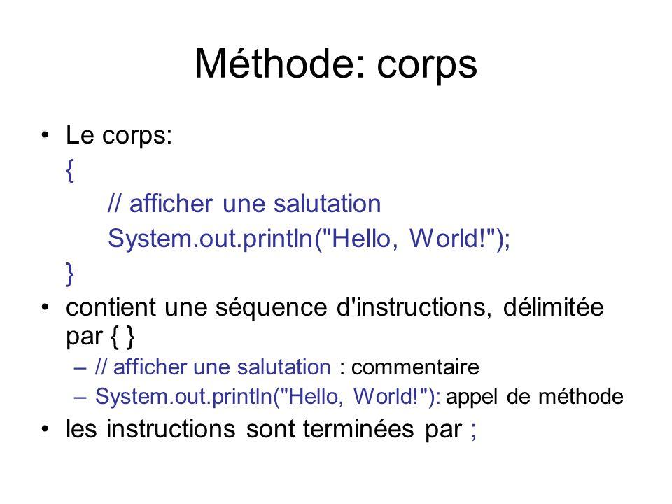 Méthode: corps Le corps: { // afficher une salutation System.out.println(