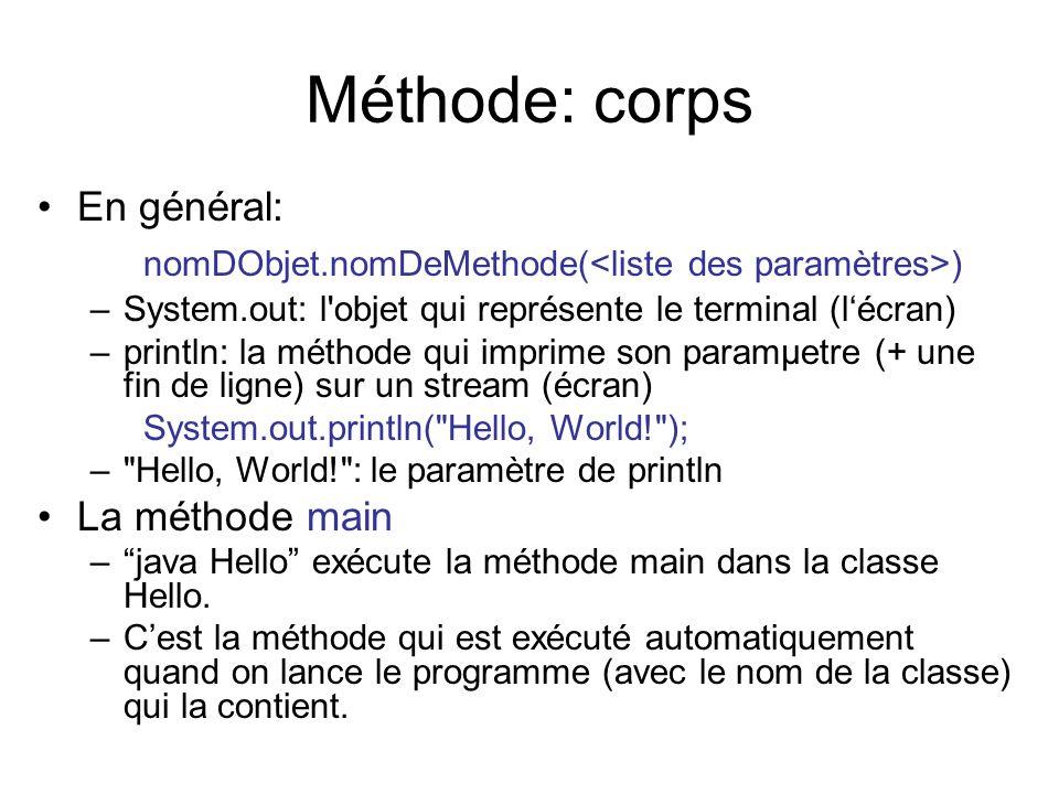 Méthode: corps En général: nomDObjet.nomDeMethode( ) –System.out: l'objet qui représente le terminal (lécran) –println: la méthode qui imprime son par