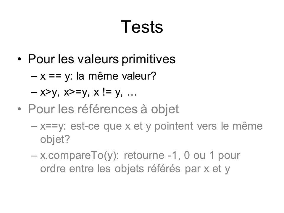 Tests Pour les valeurs primitives –x == y: la même valeur? –x>y, x>=y, x != y, … Pour les références à objet –x==y: est-ce que x et y pointent vers le