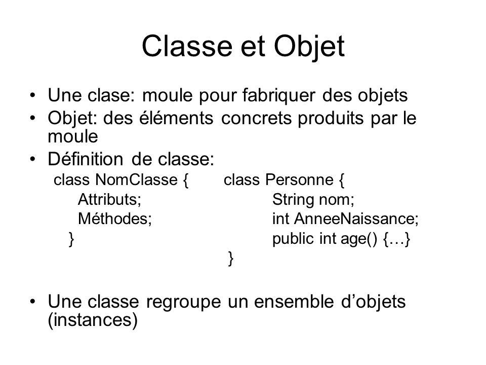Classe et Objet Une clase: moule pour fabriquer des objets Objet: des éléments concrets produits par le moule Définition de classe: class NomClasse {c